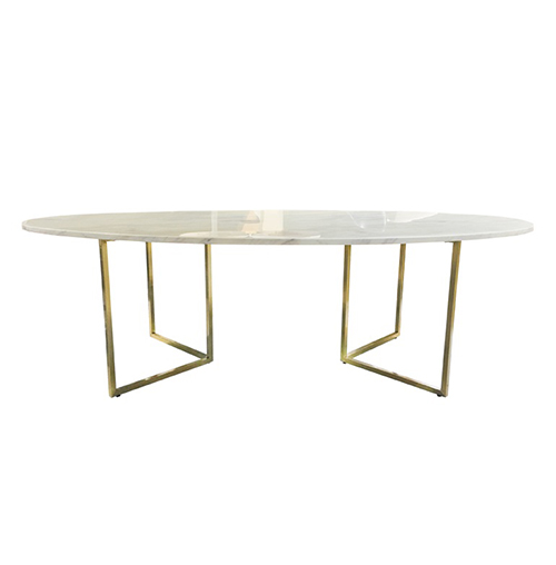 Zelda Gold Oval Dining Table