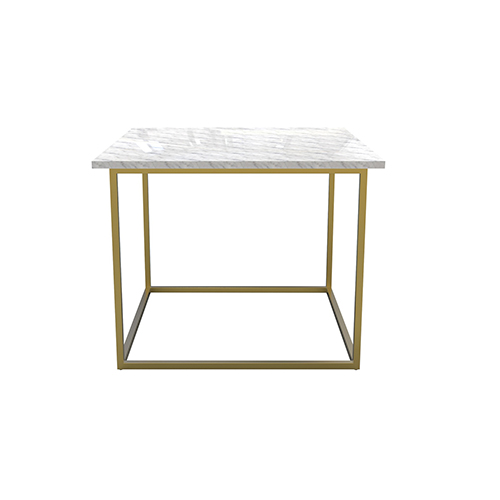 Zelda White Cafe Table with Gold Legs