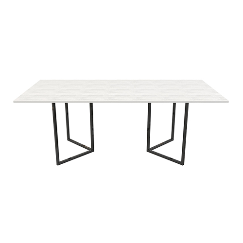 Zelda White Dining Table with Black Leg