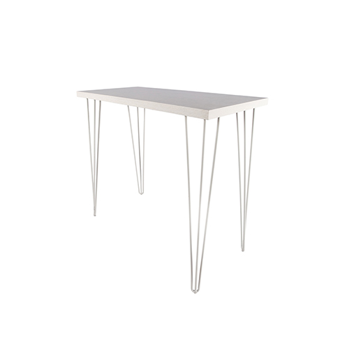 Whitewash Rectangle Cocktail Table with White Hairpin Leg