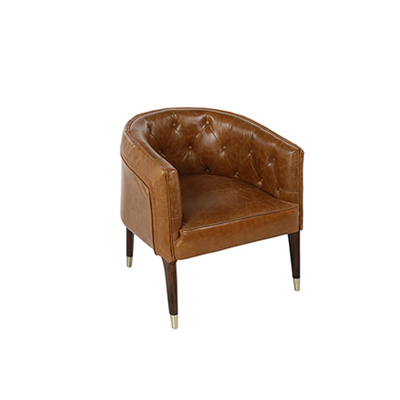 Vintage Chesterfield Lounge Chair - Tan