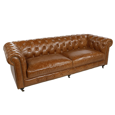 Vintage Chesterfield Three Seater Sofa - Tan